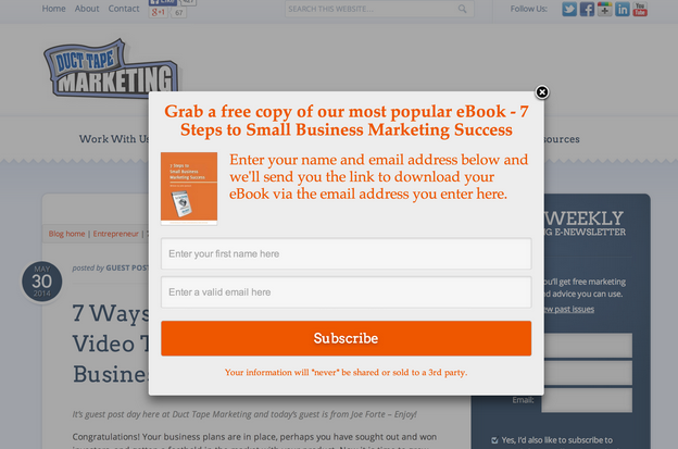 Popover call-to-action
