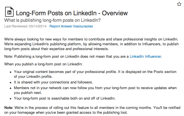 LinkedIn longform