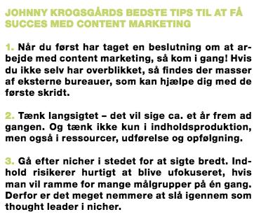 Johnny Krogsgaard content marketing tips